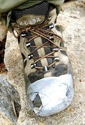 Duct Tape can be used to fix boot holes